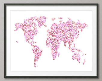 Love Hearts Map of the World Map, Art Print (2470)