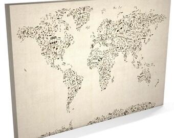 World map etsy uk world map music notes canvas musical notes world map box canvas art print 82 gumiabroncs Choice Image