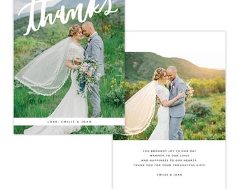 INSTANT DOWNLOAD - Thank You Photo Card Photoshop template - E1340