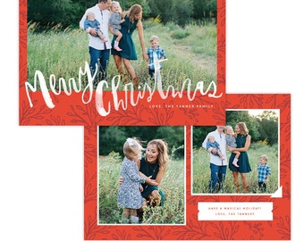 INSTANT DOWNLOAD - Christmas Holiday Card Photoshop template - e1352
