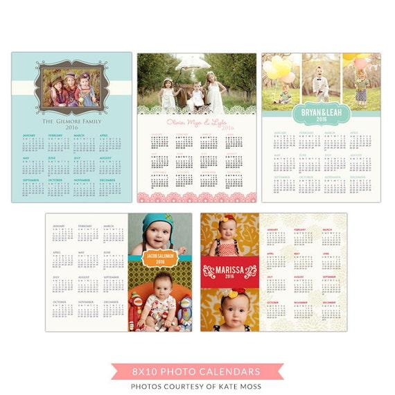 INSTANT DOWNLOAD - 8x10  2016 Calendars set - psd templates - E179