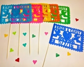20 Banderitas Includes Names & Date - Wedding - Fiesta - Favors - Decor - Cake Topper