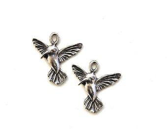 2 Pewter Hummingbird Pendants