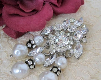 Pearl Dangle Brooch  Rhinestone Rondels Wedding Pin