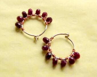 Small Hoop Earrings with Garnets, January Birthstones, Faceted Garnet Hoops, Mini Hoop Earrings