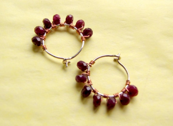 Small Hoop Earrings with Garnets, January Birthstones, Faceted Garnet Hoops, Mini Hoop Earrings