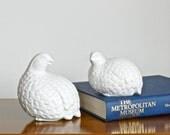 Vintage White Ceramic Quail Statue Set Mid Century Decor Textured Bird Figurines Pair