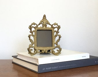 Small Vintage Cast Brass Ornate Frame with Glass Rustic Chic Decor