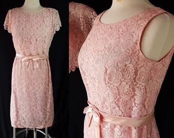 60s Lace Dress, Bolero Jacket, Wiggle Dress, Vintage Wedding, Pink Wedding