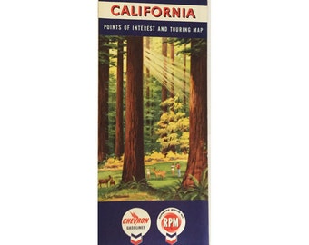 1960 California Travel Map Chevron Gas Station Points of Interest