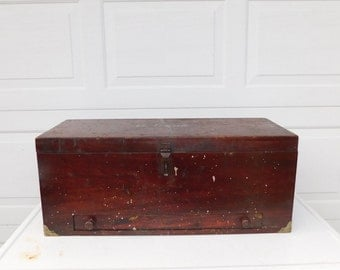 Vintage Antique Carpenters Tool Box Carpenter Tool Chest Foot Locker With Drawer