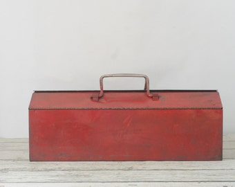 Tool Box Vintage Red Toolbox With Toolbox TrayTool Box Industrial Toolbox