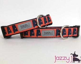 JAZZY J EXCLUSIVE Orange Sweet Home Auburn Dog Collar
