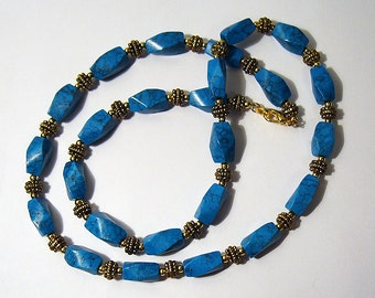 Tangled Up In Blue - Turquoise Howlite and Gold Necklace
