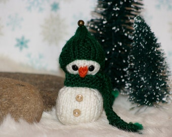 Little Knit Snowman Doll, Ornament, or Car Mirror Decor