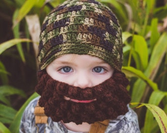 Lumberjack Baby Beard Beanie in CAMOUFLAGE, Crochet Beard, Hipster Baby Beanie, Baby Hat With Beard, Hipster Beanie Hat, Hipster Beanie