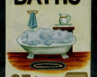Vintage  BATHS Retro Primitive Country Sign Wood Bathroom Bath Art Wall Decor