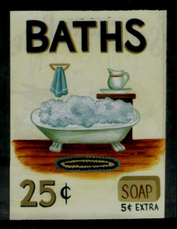 Vintage Baths Retro Primitive Country Sign Wood Bathroom Bath
