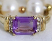 VALENTINES DAY SALE Vintage Amethyst Diamond 10k Yellow Gold Ring Promise Ring Cocktail Ring