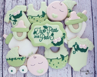 Twin Baby Shower Cookies ,Pea In A Pod cookies, Gender Neutral Cookies, Twin Baby Cookies, Baby Shower Favors, Baby Shower Cookies
