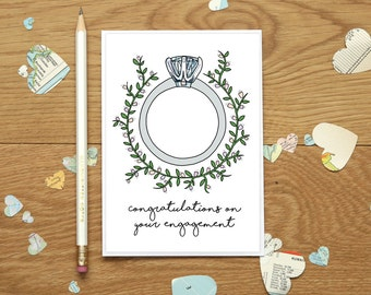 Engagement congratulations card - card for new engaged couple - happy engagement greetings card - congratulations on your engagement card