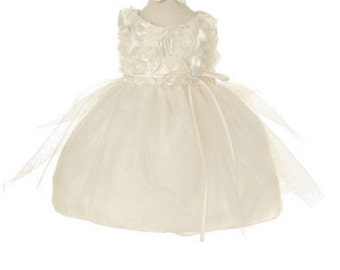 Rosetta and Tulle Baptism / Christening Dress with Satin Bow Tie Toddler Christening / baptism White Dress Ivory baby Dress with headband