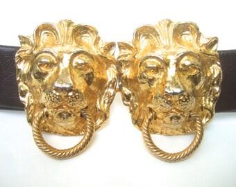 Ornate Gilt Metal Lion Buckle Belt Designed by Mimi D N c 1974