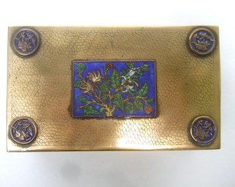 Chinoiserie Exotic Cloisonne Brass Metal Box c 1960