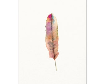 Watercolor Feather Art Print, Pink Watercolor Feather Painting, Feminine Home Decor, Nature Art, Woodsy Art, Boho Chic Wall Art, Nursery Art