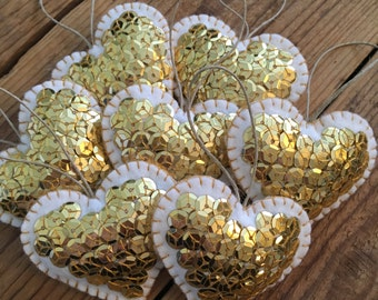 Gold Sequined Heart Ornaments - Set of 3