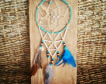 SALE! One of a Kind Dream Catcher String Art Sign, Native American Home Decor, Turquoise Gold Brown and White Beaded Nail and String Art