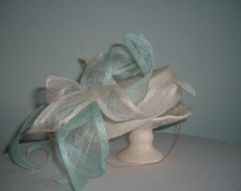 Sinamay Pillbox Bridal Hat - bridal pillbox hat Ivory Aqua hat Petals headpiece Bridal Headpiece Wedding hat Races headpiece