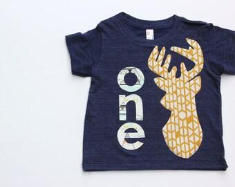 First Birthday Shirt, Deer Birthday Shirt, Woodland Birthday Shirt
