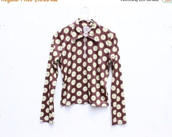 10,000 LIKES 7 Day Sale 90s Does 70s PSYCHEDELIC Flower Print High Neck Long Sleeve Collared Crop Top