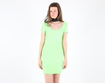 SALE - 90s Surfer Girl Neon Green Fluro Bright SUPER STRETCH Textured Knit Bandage Mini Dress