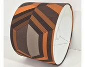 Retro 60/70s Orange Brown Geometric Wallpaper Lightshade Lampshade / Various Sizes
