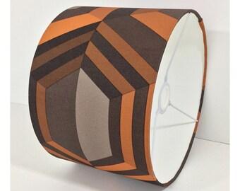 Retro 60/70s Orange Brown Geometric Wallpaper Lightshade Lampshade / Various Sizes