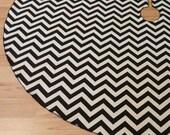 SALE Medium Chevron Black Holiday Tree Skirt - FREE Shipping, American Made Black and Cream ZigZag Stripe