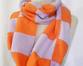 SALE Fleece Infinity Scarf - FREE Shipping, Lavender Purple and Orange Patchwork Circle Scarf, Ski or GameDay Accessory, Made in USA