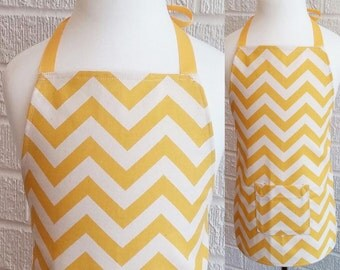 Toddler Yellow Chevron Apron with Pocket - Can be Personalized, Free Shipping, Made in The USA