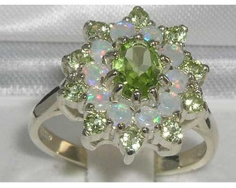 Solid 925 Sterling Silver Natural Peridot & Colorful Opal Large Cluster Flower Ring, English Vintage Design 3 Tier Ring - Customizable