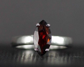 Sterling Garnet Ring - Marquis Garnet Ring - Ready to Ship Size 7 - Sample Sale