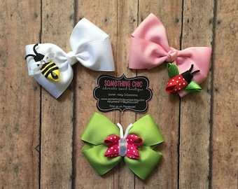 Summer Bows Ladybug Bumble Bee Bow Insect Butterfly Hairbow Set Baby Toddler Girls Hairbows Boutique
