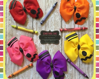 Back to School Pencil Hair Bows Yellow Bow