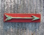 Turquoise Arrow Sign Wood Painting 3D Arrow Cutout Junk Gypsy Red Native American Primitive Folk Art Urban Decor Reclaimed Wood