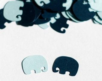 Elephant Baby Shower Confetti, Navy and Light Blue, Elephant Baby Shower