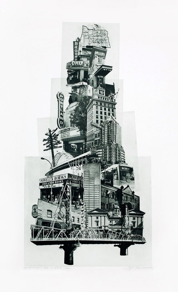 Portland Fine Art - Original Art - Photographic Etching - Print - Photography - Oregon - Photogravure - Photo Collage - Tower of Portland