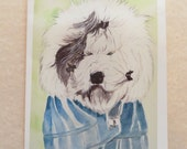 Just Because Card Old English Sheepdog Bad Hair Day with Envelope
