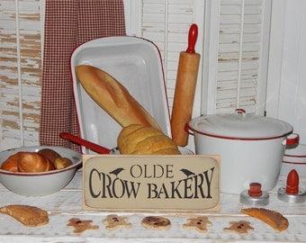 Kitchen Sign Olde Crow Bakery Sign Primitive Sign