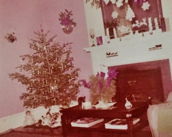 Original Vintage Color Photograph Christmas at Home 1957